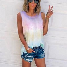 2020 tank tops new women summer fashion tie-dye gradient printed loos – bodyconest shirts for women cute  t shirts ideas  shirts for women summer  mermaid t shirt cute tops for women  cute shirts for women   #tshirtsfashion #summertshirts #tshirtsstyle  #tshirtswomen #streetstyle #fashion #style #streetwear #summer Cami Top Outfit, Casual Tie, Plus Size Tank Tops, Tie Dye T Shirts, Basic Tops, Women's Summer Fashion, Customer Service, Larger, Manual