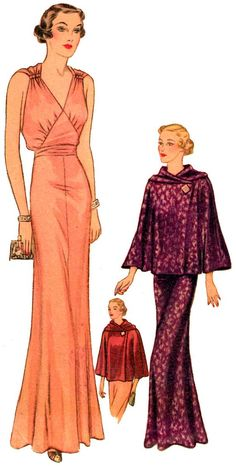 1940 Ladies Evening Gown with Jacket - Reproduction Sewing Pattern - 34 Inch Bust Vintage Dress Patterns, Clothing Patterns, Vintage Dresses, Vintage Outfits, 1930s Fashion, Retro Fashion, Vintage Fashion, Moda Vintage, Evening Gown Pattern