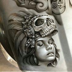 Clown girl by Mayan Symbols, Viking Symbols, Egyptian Symbols, Viking Runes, Ancient Symbols, Photoshop Tattoo, Mexico Tattoo, Crane, Azteca Tattoo