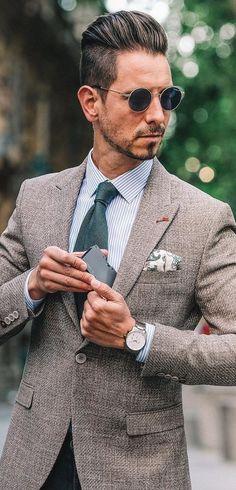 Summer Suit Accessories For Men Sky Blue Suit, Light Grey Suits, Green Suit, Khaki Suits, Mens Suits, Plaid Fashion, Mens Fashion, High Fashion, Trendy Mens Haircuts