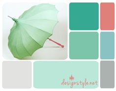 April Showers Paint Inspirations, coral, green, teal, blue, grey-I think I want these colors in my spare bedroom