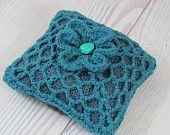 Fabric Pin Cushion, Crocheted Pillow, Crochet Pincushion