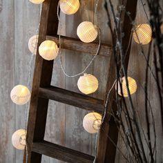 "Patio Warm White Connectable Mini 3"" Lantern Globe 30 LED String Lights Timer #LampLust #Oriental"