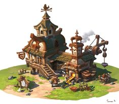 https://www.artstation.com/artwork/forge-4a9bd96f-9e1e-467a-b593-a1a0b9ec73e9 Environment Concept Art, Environment Design, Game Environment, 2d Game Art, Video Game Art, Building Concept, Building Design, Prop Design, Game Design