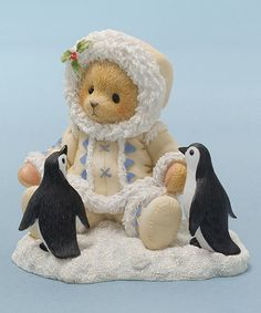 Look what I found on #zulily! Eskimo Bear with Penguins Figurine #zulilyfinds