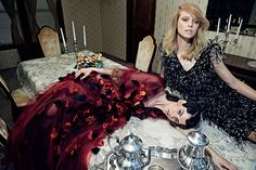 Just in time for the day after Thanksgiving, W Magazine shows the scene after the big day wraps with a new editorial. Models Teresa Oman, Isabelle Nicolay