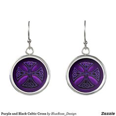 Purple and Black Celtic Cross Earrings Cross Earrings, Christmas Card Holders, Purple And Black, Pocket Watch, Colorful Backgrounds, Celtic, Perfume, Cosmetics, Silver