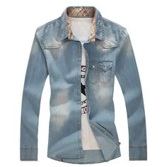 2017 new arrivel spring and autumn style men's denim shirt  fashion leisure solid men's long sleeve shirt large size M-5XL
