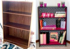Paint the bottom of the shelves pink, and all scrapbook paper to the back with modge podge. You're welcome (;