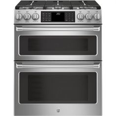 Cafe 30 in. Smart Slide-In Double Oven Induction Range with Convection in Matte White, Fingerprint - The Home Depot Double Oven Electric Range, Double Oven Range, Double Ovens, Electric Stove, Double Oven Stove, General Electric, Ottawa, Calgary, Stainless Steel Double Oven