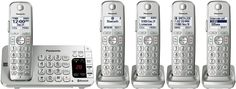 Panasonic KX-TGE475S Link2Cell Bluetooth Enabled Phone with Answering Machine, 5 Cordless Handsets, Silver/White (Certified Refurbished)
