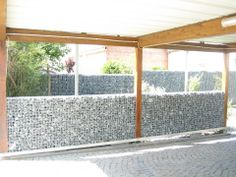 gabion wall built into arbor