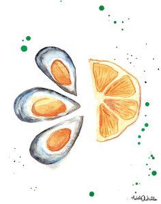 """""""Cozze arancioni"""", illustration and recipe for 'Una spina nel Design' book. Adele Rotella"""