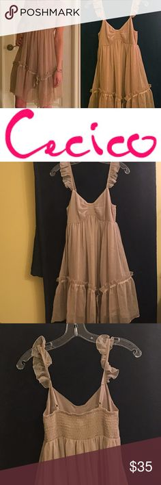 Chiffon Babydoll Dress (Size S) Gorgeous beige color babydoll dress, complete with ruffle and ribbon. Made of chiffon fabric and fully lined as well. In excellent condition. Size S. Only reasonable offers will be considered thank you. Cecico Dresses