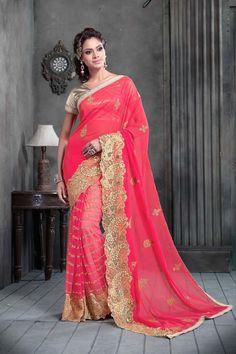 Buy Pink Georgette Designer Saree Online in low price at Variation. Huge collection of Designer Sarees for Wedding. #designer #designersarees #sarees #onlineshopping #latest #lowprice #variation. To see more - https://www.variationfashion.com/collections/designer-sarees