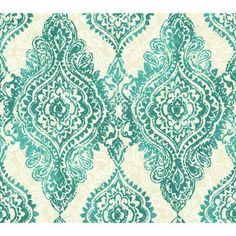 "York Wallcoverings Wallpapher Boho Chic 27' x 27"" Damask 3D Embossed Wallpaper Color: Turquoise / Ecru"
