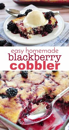 Homemade Blackberry Cobbler ~ a simple, scrumptious dessert featuring plump, tart berries ribboning a layer of sweet, tender cake. Blackberry Dessert Recipes, Easy Blackberry Cobbler, Fruit Cobbler, Fruit Recipes, Best Berry Cobbler Recipe, Easy Cobbler Recipe, Blackberry Ideas, Blackberry Tattoo, Blackberry Dumplings