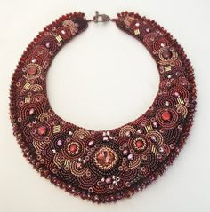 Cranberry Bog  Bead Embroidery Necklace by totallytwisted on Etsy, $275.00