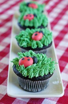 The cutest little lady bug cupcakes! via @Bakeat350tweets