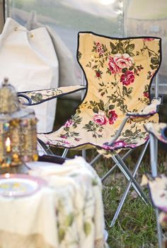 Your glamping bachelorette party needs these floral foldable chairs.