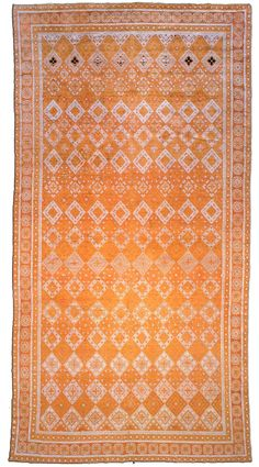 An Indian Cotton Agra rug BB1843 - by Doris Leslie Blau.  An early 20th century Indian Agra antique rug, the ochre field with an overall panel design of stepped diamond ...
