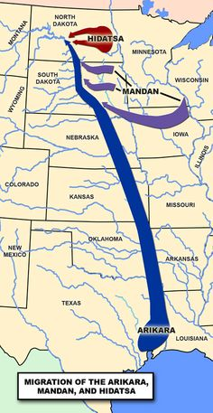 map showing the migration of the Mandan, Hidatsa, and Arikara (Sahnish) tribes in the United States