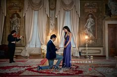Wedding proposal in a luxury Venetian Palace