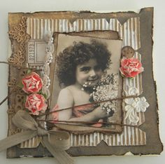 Shabby Vintage Card...with lace, roses & grunged cardboard...