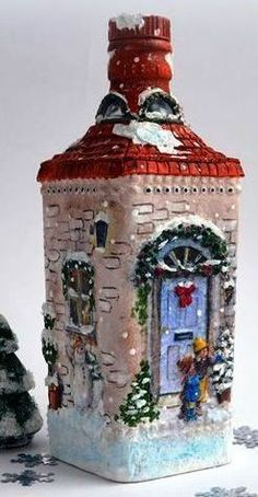 1 million+ Stunning Free Images to Use Anywhere Recycled Glass Bottles, Glass Bottle Crafts, Wine Bottle Art, Painted Wine Bottles, Clay Fairy House, Doll House Crafts, Christmas Wine Bottles, Wine Craft, Altered Bottles