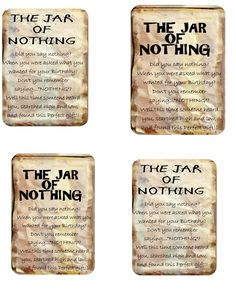 Dashing image pertaining to jar of nothing printable label free