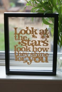 Dont love Coldplay much but love the lyric nonetheless. And a nice simple display for a girls gallery wall. Could use existing scrapbook letters.