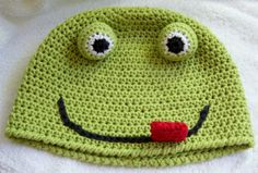 Crazy Frog Hat crochet pattern, FREE with any Crochet by Darleen Hopkins pattern purchase #crochet #crochetpattern   ~ PATTERN FOR SALE. Link correct when I checked on 04/01/2015