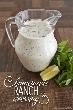 Homemade Ranch Dressing - I've made this over 20 times and I swear, it's the BEST ranch dressing recipe I've found so far! (Mine comes out more green then the picture, so don't worry if yours does too!)