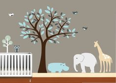 Boys Animal Wall Art Tree Decal  Nursery Birds by NurseryWallArt, $99.99