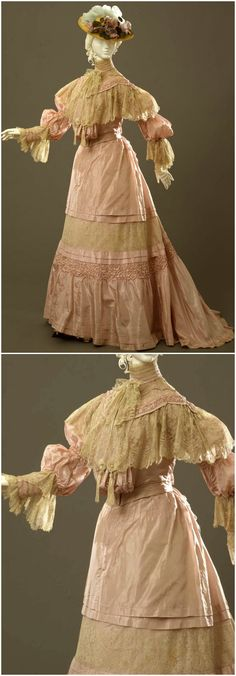 Tea-gown in two parts (bodice and skirt), by Sartoria Robes & Confections D. E. Carena, Florence, c. 1904-05, at the Pitti Palace Costume Gallery. Via Europeana Fashion.
