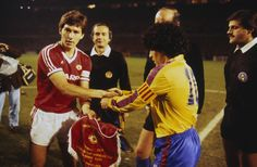 Way back when: Bryan Robson, the Manchester United captain, wearing the three stripes of Adidas when shaking hands with Diego Maradona ahead of the 1984 European Cup Winners' Cup tie with Barcelona Barcelona, Bryan Robson, Official Manchester United Website, Sir Alex Ferguson, Association Football, Football Design, Free Kick, Manchester United Football, Old Trafford