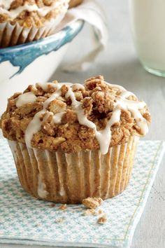 apple streusel muffins with maple drizzle add a little sweetness to these apple filled muffins with a little dose of maple syrup the only thing th ? Muffin Recipes, Apple Recipes, Baking Recipes, Dessert Recipes, Desserts, Bread Recipes, Apple Streusel, Pecan Cake, Apple Filling