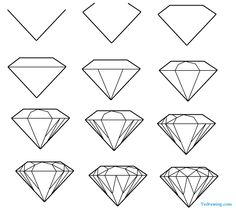 easy to draw gems | gemstones drawing guide
