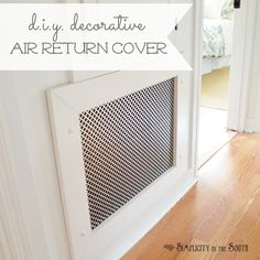 How to Make a Decorative Air Return Vent Cover - This tutorial shows you how to make a decorative air vent cover with metal radiator screen. Air Return Vent Cover, Air Vent Covers, Heater Covers, Home Improvement Projects, Home Projects, Home Renovation, Home Remodeling, Do It Yourself Baby, Home Decoracion
