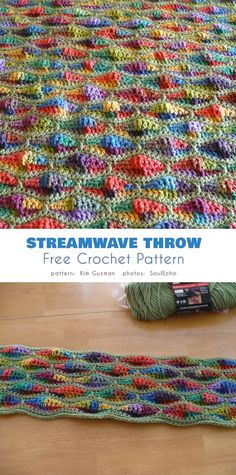Streamwave Throw Free Crochet Pattern This blanket or throw is a radical departure from traditional crocheting designs. Its wavy texture is a veritable playground for colors, and the loud pattern Gilet Crochet, Crochet Yarn, Crochet Hooks, Crochet Afghans, Crochet Blankets, Crochet Afghan Stitch, Crochet Curtains, Throw Blankets, Chrochet