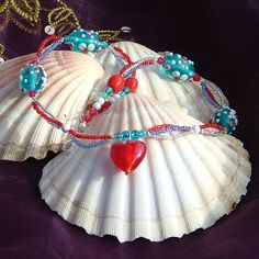 Red, White and Blue 3-Strand Necklace With Heart Pendant - pinned by pin4etsy.com