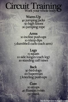 Full body circuit.............LOVE THIS ONE, It includes EVERYTHING!!!!