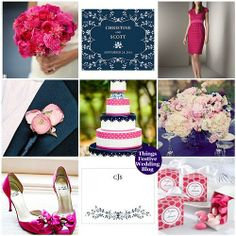 Wedding theme, navy blue, pink, fuchsia and white. We have pink forget me not seed packets, ready to imprint with your wedding message.