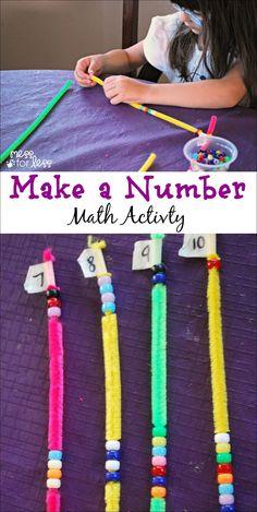 Make a Number Math Game - Kids strengthen their number sense as they think about all the ways to make a number. Make a Number Math Game - Kids strengthen their number sense as they think about all the ways to make a number. Math Games For Kids, Fun Math, Maths, Number Games Preschool, Kindergarten Math Games, Creative Activities For Kids, Math Help, Math Art, Literacy