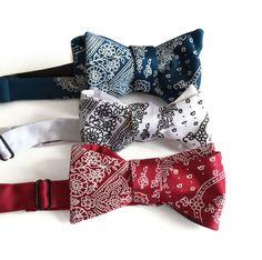 Bandana Print bow tie. Classic paisley bandanna by Cyberoptix