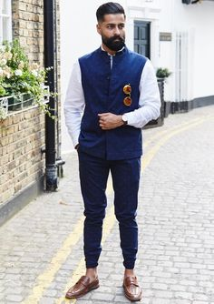 Blue Printed Nehru Jacket with Blue Pants and White Shirt