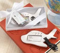 Airplane Luggage Tag Wedding Favor by Kate Aspen