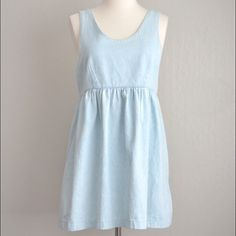 Vintage 1990's Light Blue Chambray Jumper Dress Super cute cotton chambray jumper from the 1990's! Pull-over, tie waist back. Sleeveless. Empire waist, gathered skirt. Slightly loose fit. Women's size small. In great vintage condition. Vintage Dresses Mini