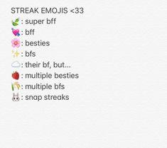 Snapchat Streak Emojis, Snapchat Friend Emojis, Friends Emoji, Snap Friends, Names For Snapchat, Snapchat Ideas, Snap Emojis, Emoji Combinations, Snap Streak