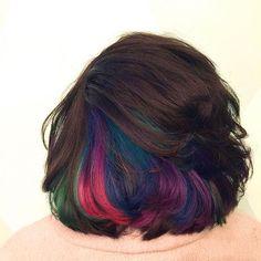 #underlights #avedacolor #creativetouchtupelo Hidden Hair Color, Hair Color And Cut, Cool Hair Color, Hair Rainbow, Oil Slick Hair, Retro Wedding Hair, Underlights Hair, Bright Hair, Dye My Hair